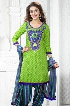 Green Pashmina Salwar kameez with Printed