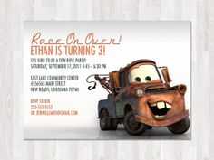 Disney+Cars+Birthday+Invitation+TowMater+by+fancybelle+on+Etsy,+$8.00