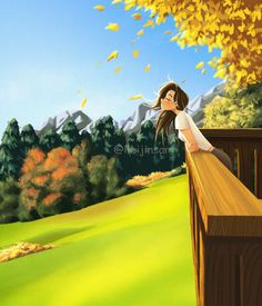 Fall in love - Art Print - Digital Art - Wall Decor - Illustration Art - Peijin Girls Cartoon Art, Animation Art, Alone Art, Dreamy Art, Anime Scenery, Digital Painting, Digital Art Girl, Scenery, Aesthetic Art