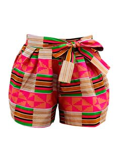 I could not pass through these cutest short without pinning itMakena African Print Wide Leg Shorts (Pink/Beige)