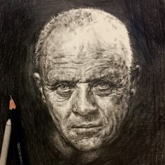 Face study of Antony Hopkins as Hannibal Lecter by Dorothy Zhu via instagram @dorothyzhuart