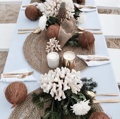 Hope & May >> Tropical Botanical Beach Table Setting