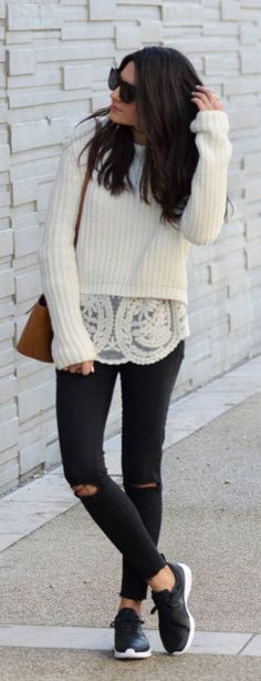 Federica L. + cute spring chic look + ripped black jeans + white lace top + knitted sweater.   Sweater: Pull & Bear, Blouse: Pop My Dress, Trousers: Zara, Bag: Elleme.