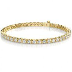 10.00 Carat F-VS Round Cut Diamond Eternity Tennis Bracelet in 14k Yellow Gold - Thumbnail 1