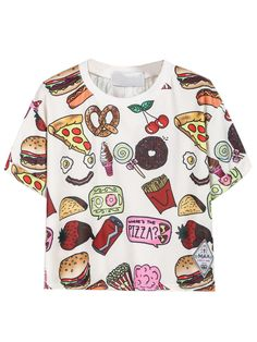 Cute white yummy food print short sleeve t-shirt help you sparkle in the summer day.