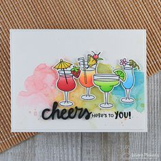 Cheers To You Card by Juliana Michaels featuring Cocktail Mixers Stamp Set by Newton's Nook Designs Cocktail Mixers, Cocktail Theme, Retirement Cards, Handmade Birthday Cards, Card Making Inspiration, Watercolor Cards, Cheers, Clear Stamps, Diy Cards
