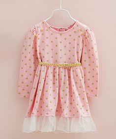 Pink Polka Dot Belted Dress - Toddler & Girls #zulily #zulilyfinds 53.99
