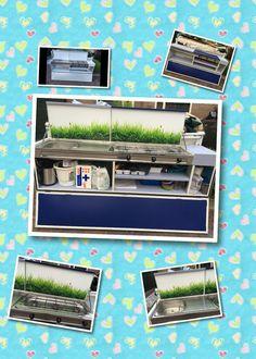 Keuken van de vouwwagen gepimpt met plakplastic