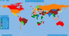 Vehicles per KM on the road