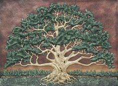 """The Wisdom Tree - Cast Paper - Green - Spreading Oak - Landscape - Arbor - Great Oak. The Wisdom Tree Limited Edition of 250 with 13 Artist Proofs. A great spreading oak dominates the landscape in this majestic signature work. This is a very large piece perfect to display over a large sofa or mantle. This work is mounted on a painted canvas. Canvas Size 30"""" by 40"""" Paper is the traditional 1st anniversary gift. Each one of these works is Hand Made and Hand Painted by the artist. These are…"""