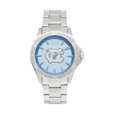 UNC Tar Heels Stainless Sports Watch w/ Blue Dial