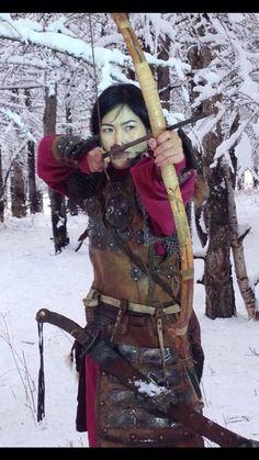 A Mongolian female warrior.