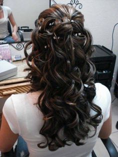 Image result for long curls pinned back front wedding