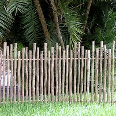 Our Rustic Eucalyptus Fencing is made from random-height eucalyptus poles that are arsenic-free. They offer an even more exotic look than rustic bamboo. Wattle Fence, Bamboo Fence, Garden Fencing, Redwood Fence, Country Fences, Rustic Fence, Farm Fence, Fence Design, Garden Design