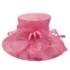 Large downsloping brim. Curly bow and feather accent. Inner drawstring. One size. 100% sinamay.