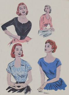 1950's Women's Top, with fitted darted bodice,