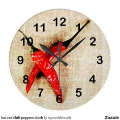 Shop hot red chili peppers clock created by myworldtravels. Mexican Kitchen Decor, Kitchen Art, Kitchen Ideas, Red Chili Peppers, Tribal Decor, Spanish Dishes, Some Like It Hot, Tropical Art, Jar Storage