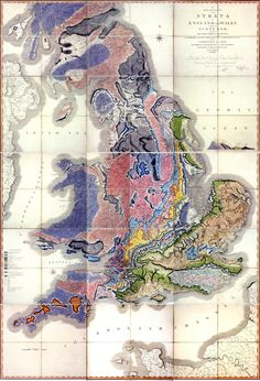 The first geological map of Britain by William Smith, 1815.