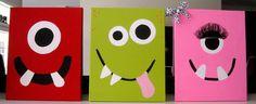 Nursery Wall Art, Kids Room, Children's Room Decor, Monster Art, Monster Design, Monster Faces, 16x20 Canvas, Set of 3. $75.99, via Etsy.