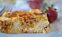 Southwestern Breakfast Bake Recipe  -  halve the recipe, or the leftover squares probably freeze well.