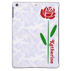 Single Red Rose Green Stem Leaves Customize Name iPad Air Cover @auntieshoe