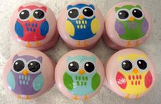 Six 35mm Hand Painted Owl Door Pulls / Drawer Knobs Childrens Cute Bedroom Decor Animals. $3.91, via Etsy.