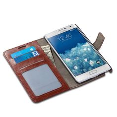 Amazon.com: Samsung Galaxy Note Edge Case, J&D [Stand View] Note Edge Wallet Case [Slim Fit] [Stand Feature] Premium Protective Case Wallet Leather Case for Samsung Galaxy Note Edge (Brown): Cell Phones & Accessories