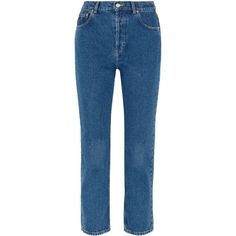 Balenciaga Genuine cropped high-rise straight-leg jeans (27.440 RUB) ❤ liked on Polyvore featuring jeans, bottoms, denim, stretchy high waisted jeans, stretchy jeans, faded blue jeans, high-waisted jeans and faded jeans