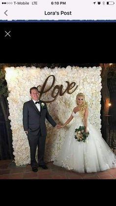white flower wall backdrop by OCflowerwalls Flower Wall Backdrop, Wall Backdrops, Flower Wall Wedding, Bridal Musings, Rustic Chic, Wedding Bells, White Flowers, Oc, Walls