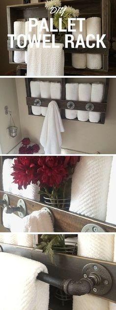 Rustic Repurposed Pallet Towel Rack