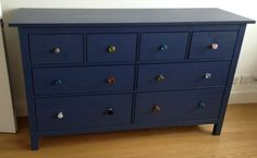 IKEA 'Hemnes' blue dresser. With beautiful Anthropologie ceramic & glass knobs | eBay