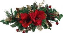 Red Poinsettia 60 cm Triple Candle Holder - Christmas Table Centre Piece