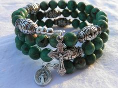 Turquoise Green Malachite and Silver tone by rosarybraceletwrap5, $58.00