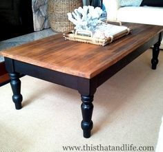DIY farmhouse coffee table makeover. I could do this with the coffee table we already have esp. since the top is all scratched up.