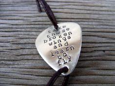 Hand stamped nickel silver guitar pick bracelet take by beadsoul, $23.00
