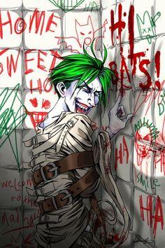 Arkham Asylum, Cell 801 by Joker Images, Joker Pics, Joker Comic, Joker Art, Dc Comics Art, Batman Comics, Arley Queen, Jokers Wild, Joker Poster