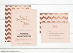 ROSE GOLD foil geometric Wedding Invitations  DIY door studioBAM