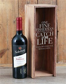 gifts: Personalised Catch Of His Life Wine Crate! Valentines Day For Him, Valentine Day Gifts, Flower Delivery Service, Red Wine, Crates, Personalized Gifts, Alcoholic Drinks, Bottle, Glass