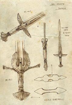 Dol Amroth swords drawn by Tolkien himself