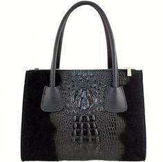 Trendy croco zwarte leren damestas.   Deze tas is te gebruiken als schoudertas.