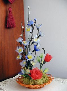 Handmade Nylon Flowers Arrangement by LiYunFlora on Etsy