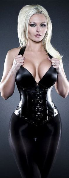 Black Latex Catsuit and Black Latex Corset