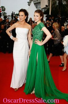Gorgeous Sleeves Beading Sarah Margaret Qualley Green Evening Prom  Dresses