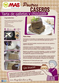 Tarta de galletas y chocolate Sweet Desserts, Sweet Recipes, Dessert Recipes, Healthy Recipes, Chilean Recipes, Deli Food, Candy Cakes, Pan Dulce, Bread Machine Recipes