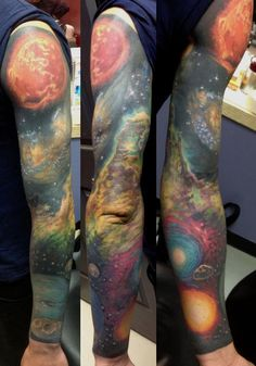 I have utterly and completely died. This tattoo killed me and now I am a space tattoo ghost.     Done by Dan Henk in Philly