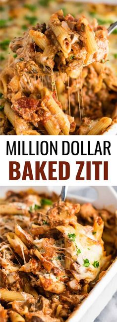 This Meatless Million Dollar Baked Ziti Recipe is an easy and impressive vegetarian dinner. Full of meaty mushrooms, fresh herbs, and four types of cheese! dinner mushroom Meatless Million Dollar Baked Ziti Recipe - Build Your Bite Vegetarian Casserole, Vegetarian Bake, Vegetarian Dinners, Casserole Recipes, Vegetarian Recipes, Cooking Recipes, Healthy Recipes, Meatless Pasta Recipes, Free Recipes