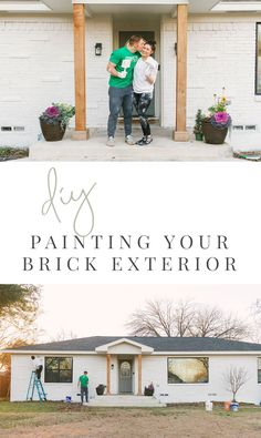 DIY Painting Your Brick Exterior - Romabio Limewash - Home Exterior Paint - Painting Your Home Outside White - Curb Appeal - White Brick with Black Windows - Ranch Home Exterior - Modern Ranch Home Renovation - Farmhouse Living Ranch Exterior, Rustic Houses Exterior, Exterior Remodel, Modern Exterior, Cafe Exterior, Craftsman Exterior, Cottage Exterior, Pintura Exterior, Painted Brick Exteriors