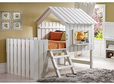 Maximize your child's sleeping experience with the Cabana Loft Twin Bed. Featuring a rustic pearl finish, the bed features a fixed ladder that allows access to the loft, while the enclosed barrier and house-like front allows your child to play safely. Play Beds, Kids Bunk Beds, Visual Merchandising, Toddler House Bed, Low Loft Beds, Design Food, Tree House Designs, House Beds, Loft Spaces