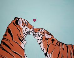 tiger love Chinese zodiac says two tigers is not so great but oh so hot! Animal Drawings, Art Drawings, Illustrations, Illustration Art, Tiger Art, Pretty Art, Aesthetic Art, Cat Art, Art Inspo