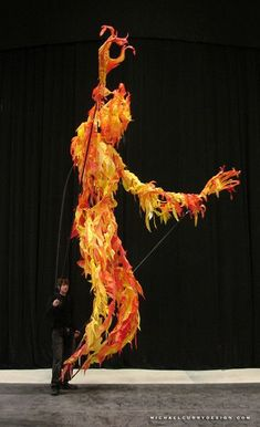 This is what LARP should use for fire elementals. Puppet Costume, Marionette Puppet, Puppets, Puppet Making, Maquillage Halloween, Stage Design, Stop Motion, Larp, Costume Design